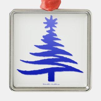 Modern Christmas Tree Stencil Print Blue Christmas Tree Ornaments
