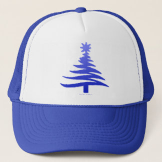 Modern Christmas Tree Stencil Print Blue Trucker Hat