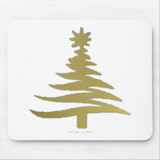 Modern Christmas Tree Stencil Print Gold Mouse Pad