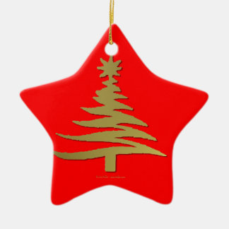 Modern Christmas Tree Stencil Print Gold Double-Sided Star Ceramic Christmas Ornament