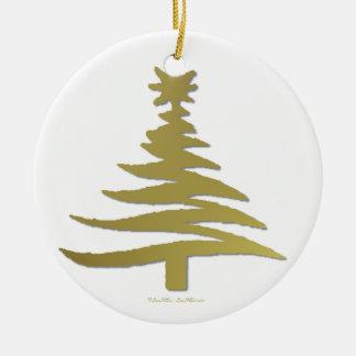 Modern Christmas Tree Stencil Print Gold Ornament