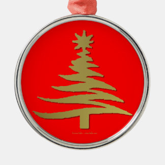 Modern Christmas Tree Stencil Print Gold Christmas Ornament