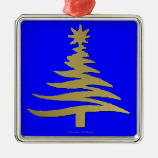 Modern Christmas Tree Stencil Print Gold Square Metal Christmas Ornament