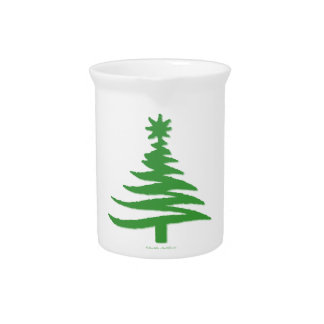 Modern Christmas Tree Stencil Print Green Drink Pitcher