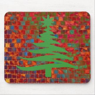 Modern Christmas Tree Stencil Print Green Mouse Pad