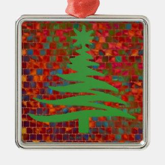 Modern Christmas Tree Stencil Print Green Christmas Tree Ornaments