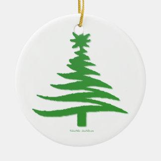 Modern Christmas Tree Stencil Print Green Christmas Tree Ornament