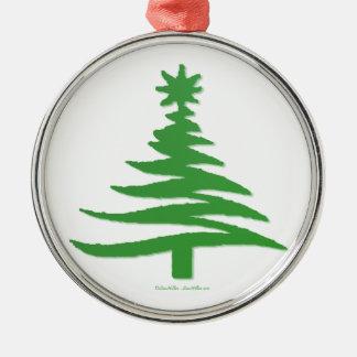 Modern Christmas Tree Stencil Print Green Christmas Ornaments