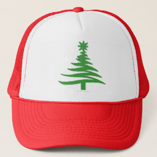 Modern Christmas Tree Stencil Print Green Trucker Hat
