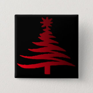 Modern Christmas Tree Stencil Print Red Button
