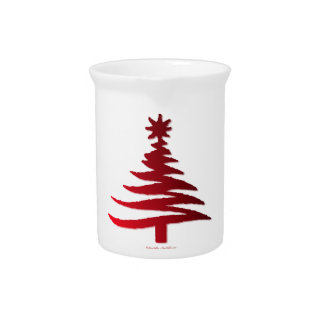 Modern Christmas Tree Stencil Print Red Drink Pitcher