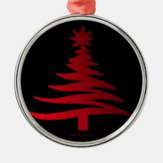 Modern Christmas Tree Stencil Print Red Ornaments