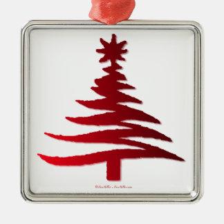 Modern Christmas Tree Stencil Print Red Christmas Tree Ornaments