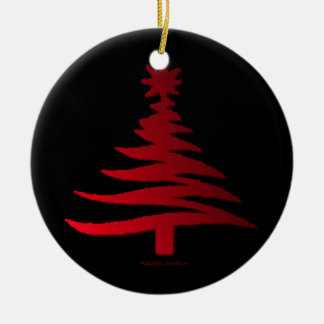 Modern Christmas Tree Stencil Print Red Double-Sided Ceramic Round Christmas Ornament