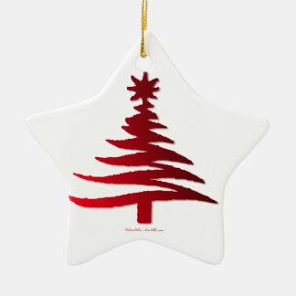 Modern Christmas Tree Stencil Print Red Christmas Tree Ornament