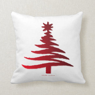 Modern Christmas Tree Stencil Print Red Pillows