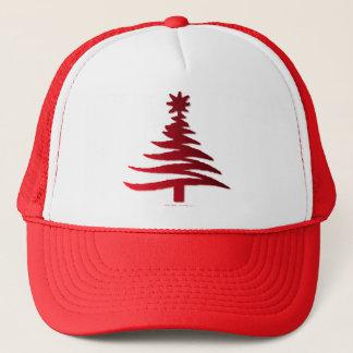 Modern Christmas Tree Stencil Print Red Trucker Hat