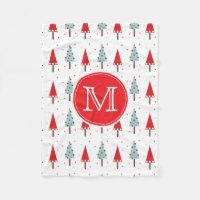 Modern Christmas Trees Monogram Fleece Blanket