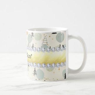 Modern Christmas Trees Snow Stars Diamonds Coffee Mug
