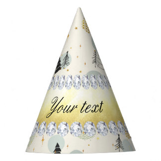 Modern Christmas Trees Snow Stars Diamonds Party Hat