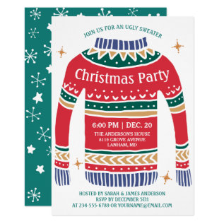 Modern Christmas Ugly Sweater Holiday Party Card at Zazzle
