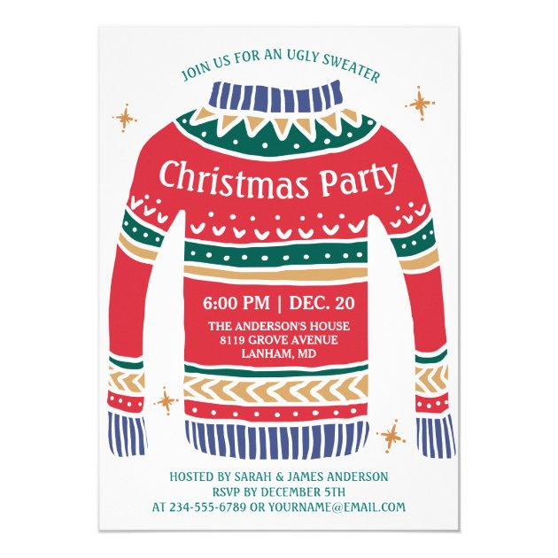 Modern Christmas Ugly Sweater Holiday Party Card (back side)