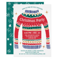 Modern Christmas Ugly Sweater Holiday Party Invitation