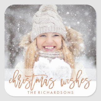 Modern Christmas Wishes with your Photo Square Sticker