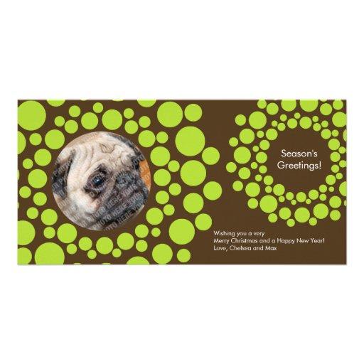 Modern Christmas Wreath Photo Card-Chocolate Brown Photo Card