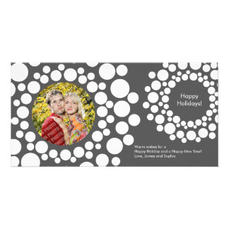 Modern Christmas Wreath Photo Card-Dark Gray