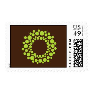 Modern Christmas Wreath Postage Stamp