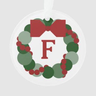 Modern Christmas Wreath with Monogram Ornament
