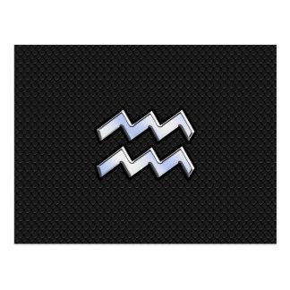 Modern Chrome Like Aquarius Zodiac Sign on Snake Postcard