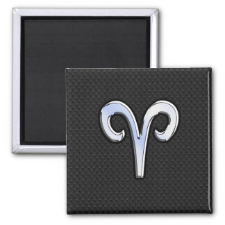 Modern Chrome Like Aries Zodiac Sign Magnet
