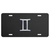 Modern Chrome Like Gemini Zodiac Symbol License Plate