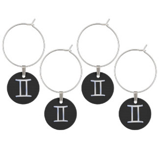 Modern Chrome Like Gemini Zodiac Symbol Wine Glass Charm