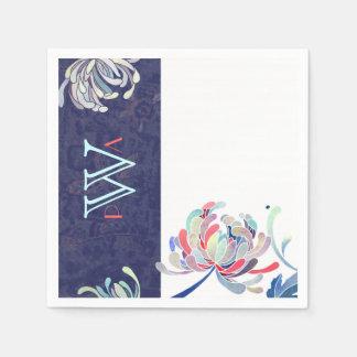 Modern Chrysanthemums Navy Blue Wedding Paper Napkin