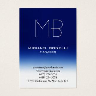 Modern chubby blue white monogram business card