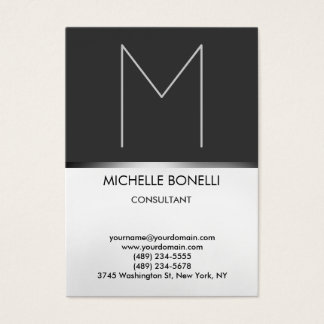 Modern chubby gray monogram stylish business card