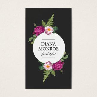 Modern Circle Floral Wreath Business Card