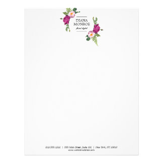 Modern Circle Floral Wreath Letterhead