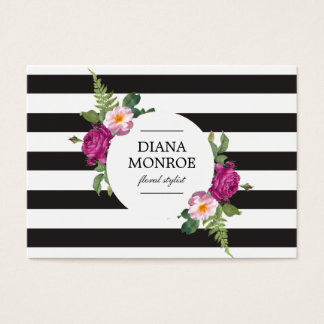 Modern Circle Floral Wreath Striped Large Business Card