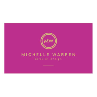 Modern Circle Monogram Initials on Fuchsia Pink Double-Sided Standard Business Cards (Pack Of 100)