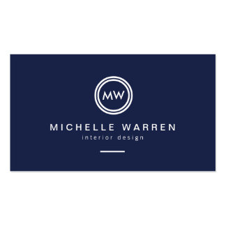 Modern Circle Monogram Initials on Midnight Blue Business Card