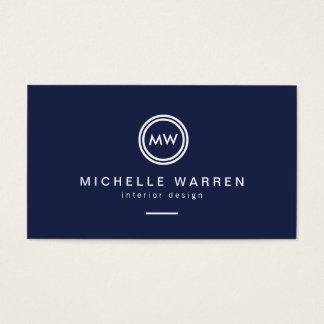 Modern Circle Monogram Initials on Midnight Blue Business Card