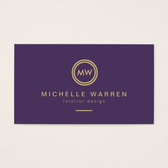 Modern circle monogram initials on royal purple business card modern circle monogram initials on royal purple business card colourmoves Image collections