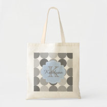 Modern Circle Pattern Custom Monogram Tote Bag