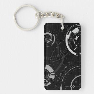 Modern Circle Tech Double-Sided Rectangular Acrylic Keychain