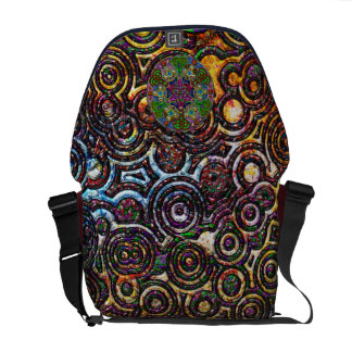 Modern Circles Pattern Collage Abstract Art Courier Bag
