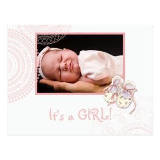 Modern Circles Photo Baby Girl Birth Announcement Postcard